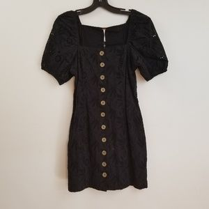 NWT Free people black button front eyelet dress